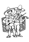 Coloriages musiciens mexicains