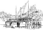Coloriage navire à vapeur