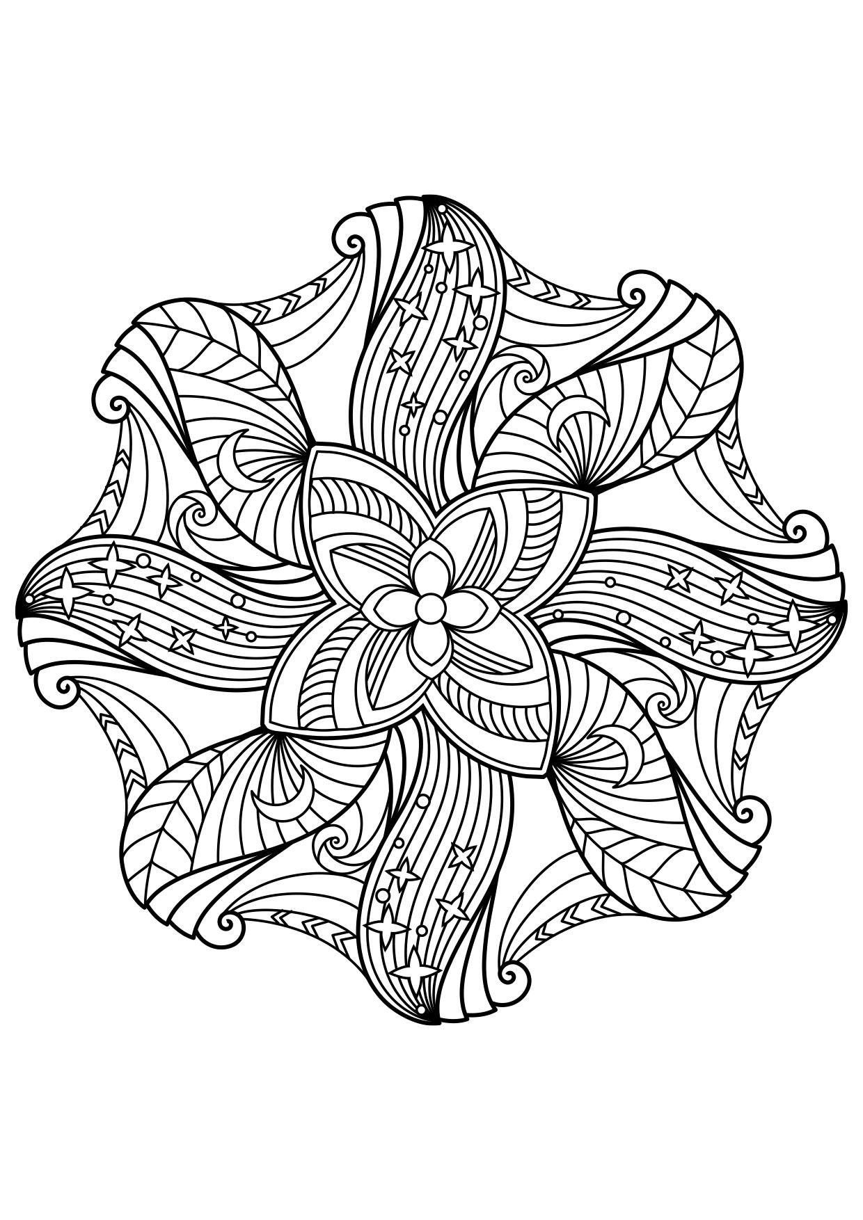 Coloriage nuit de mandala - Coloriages Gratuits à Imprimer