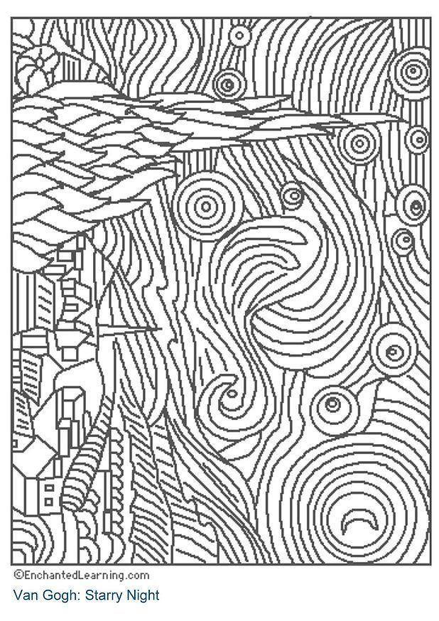 Kleurplaat Vincent Van Gogh Coloriage Nuit 233 Toil 233 E Img 3204