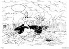 Coloriage oiseau usine, planter des arbres