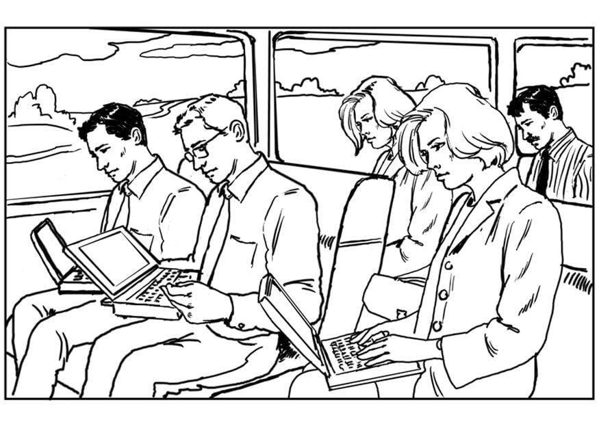Coloriage Ordinateur Portable Dans Le Train
