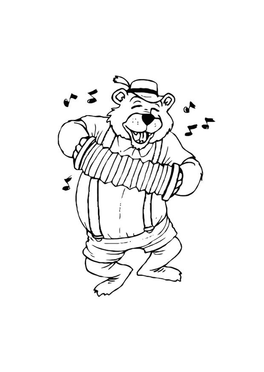 Coloriage ours avec accordeon