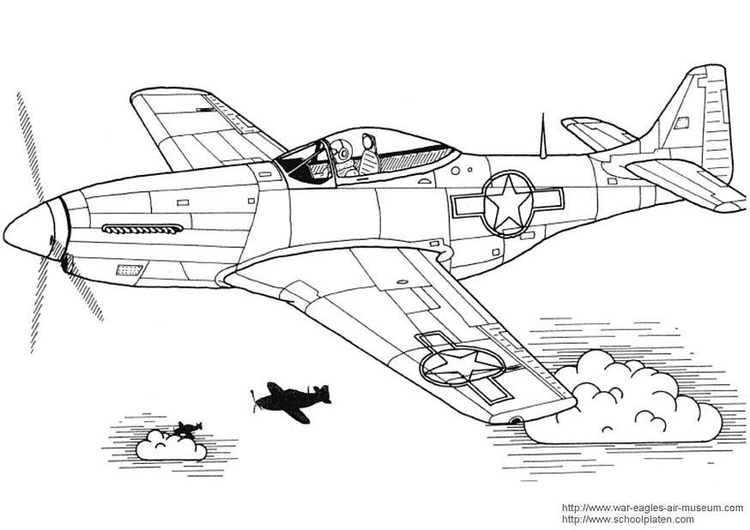 Coloriage P-51 Mustang