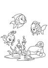 Coloriage pêcher avec des amis