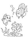 Coloriage pêcher avec un ami dans la mer
