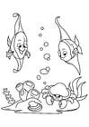 Coloriage pêcher dans la mer avec du crabe