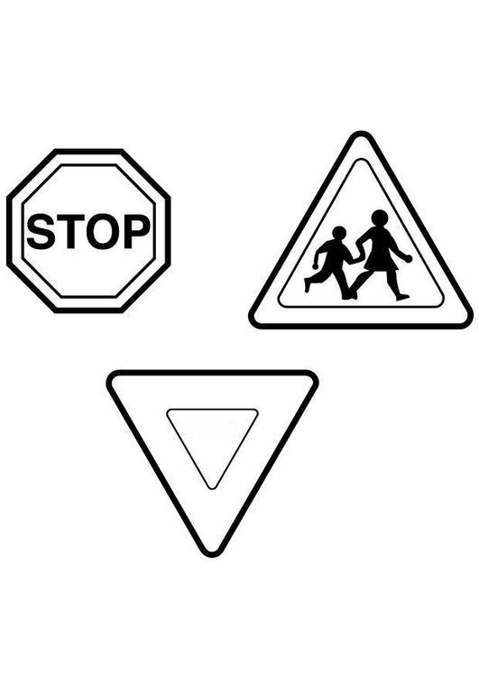 Fabuleux Coloriage panneau de signalisation - img 7112 XH11