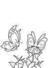 Coloriage papillon avec un ami