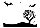 Coloriage paysage d'Halloween