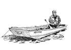 Coloriage pêcheur et barque