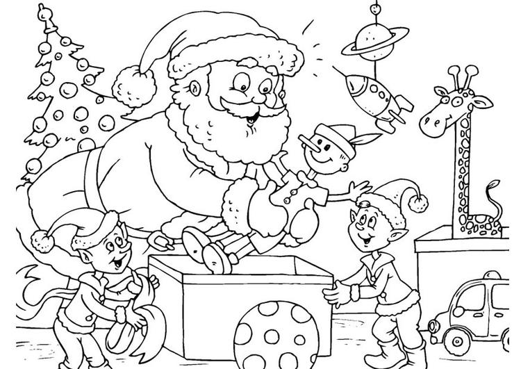 Coloriage Pere Noel Avec Des Elfes Coloriages Gratuits A Imprimer