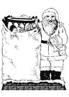 Coloriage Père Noël avec jouets