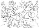 Coloriage Père Noël avec rennes