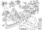 Coloriage Père Noël en traîneau