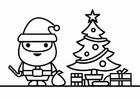 Coloriage Père Noël et sapin de Noël