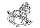 Coloriage petits enfants sur cheval basculant