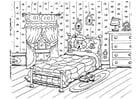 Coloriage peur au lit, cauchemar
