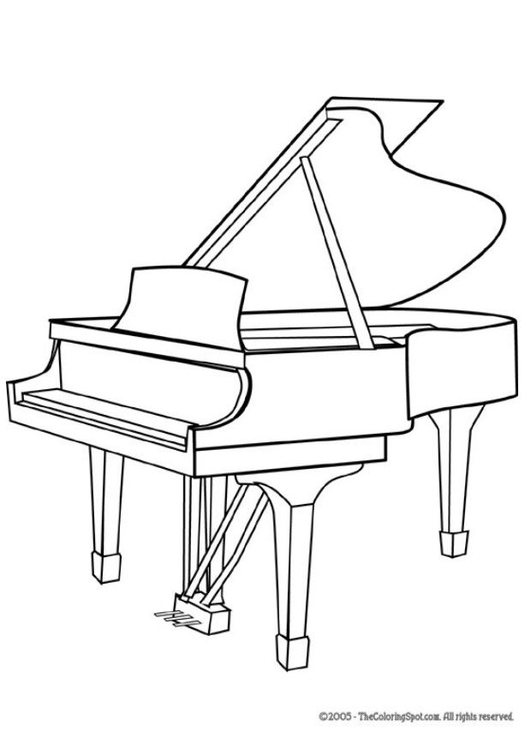 Coloriage piano à queue