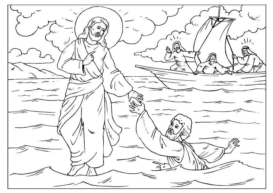 Christelijke Kleurplaat Jezus Loopt Over Water Coloriage Pierre Perd Sa Foi Img 25920