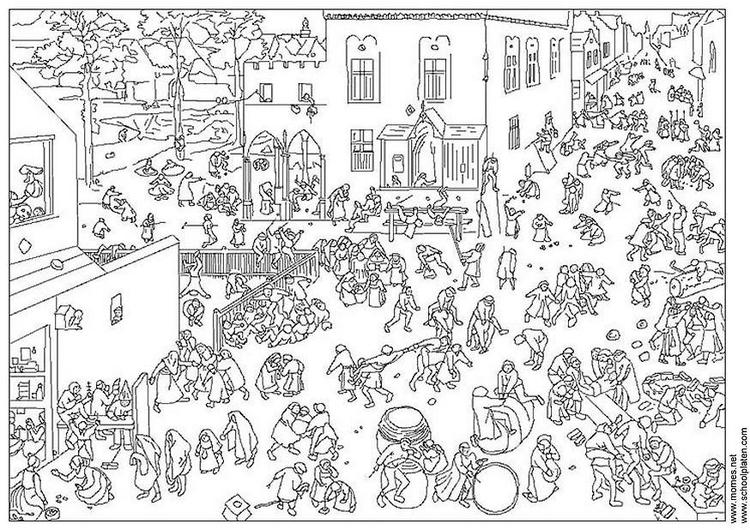 Coloriage Kermesse Ecole.Coloriage Pieter Brueghel Img 21249
