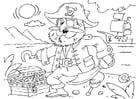Coloriage pirate avec trésor