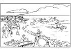 Coloriage plage et mer