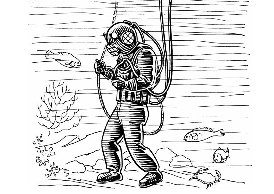 Coloriage plongeur img 13289 - Plongeur dessin ...