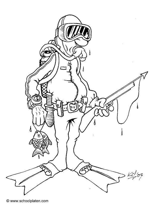 Croquis plongeur sous marin - Dessin plongeur ...