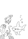 Coloriage poisson et requin