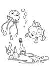 Coloriage poulpe et poisson avec bouteille