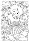 Coloriage poupée - fille