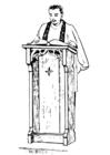 Coloriage prêtre derrière un lutrin