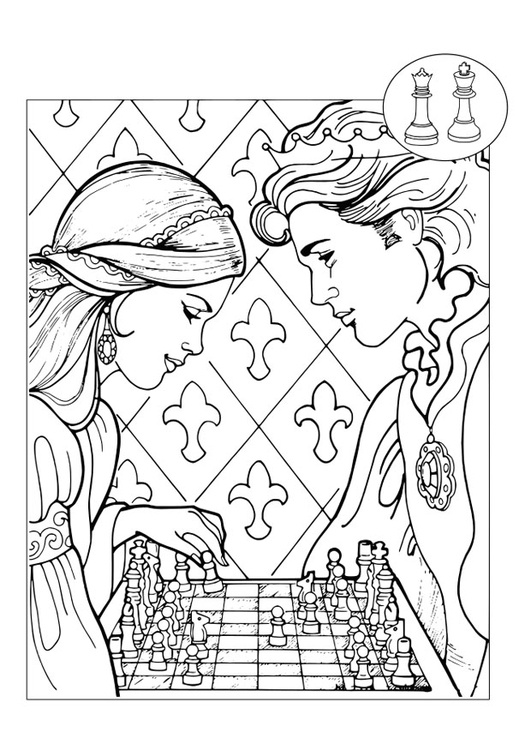Coloriage prince et princesse jouant aux checs img 30090 - Prince et princesse dessin ...
