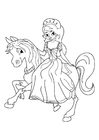 Coloriages princesse à cheval
