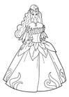 Coloriage princesse à la fête