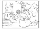 Coloriage princesse avec des fleurs