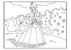 Coloriage princesse dans le jardin