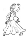 Coloriage princesse danseuse de flamenco
