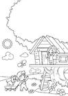 Coloriage printemps - jouer dans la cabane dans les arbres