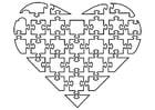 Coloriage puzzle de coeur
