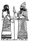 Coloriage roi d'Assyrie