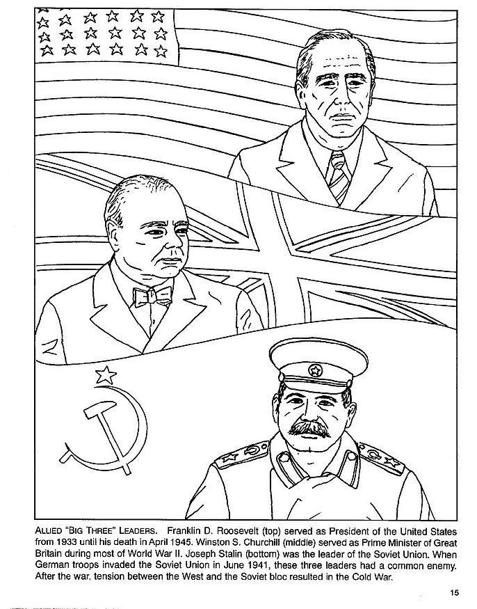 Coloriage Roosevelt Churchill Staline