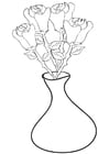 Coloriage roses dans un vase