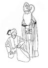Coloriage saint Nicolas et le père Fouettard