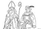 Coloriage Saint Nicolas et père fouettard