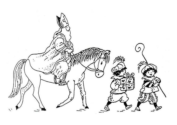 coloriage saint nicolas sur son cheval i8846
