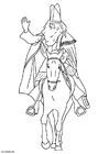 Coloriage Saint Nicolas sur son cheval