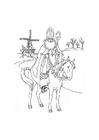 Coloriage Saint Nicolas sur son cheval