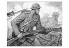 Coloriage Scène de la première guerre mondiale